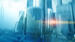 Universal finance abstract background Economic growth graph chart on futuristic city. Double exposure. Universal finance abstract background Economic growth royalty free stock photos