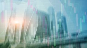 Universal finance abstract background Economic growth graph chart on futuristic city. Double exposure. Universal finance abstract background Economic growth stock image