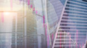Universal finance abstract background Economic growth graph chart on futuristic city. Double exposure.  royalty free stock photos