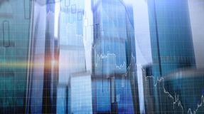 Universal finance abstract background Economic growth graph chart on futuristic city. Double exposure.  stock photos