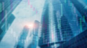 Universal finance abstract background Economic growth graph chart on futuristic city. Double exposure.  stock photo