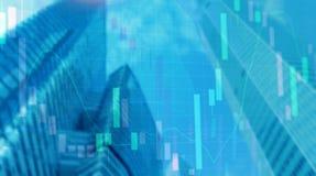 Universal finance abstract background Economic Trading growth graph chart on futuristic city. Double exposure. Universal finance abstract background Economic stock illustration