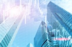 Universal finance abstract background Economic Trading growth graph chart on futuristic city. Double exposure.  royalty free illustration