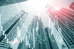 Universal finance abstract background Economic Trading growth graph chart on futuristic dubai city. Double exposure.  stock image