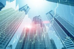 Universal finance abstract background Economic Trading growth graph chart on futuristic dubai city. Double exposure.  stock photos