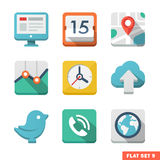 Universal Flat icon set. News, contacts, analytics and communications Royalty Free Stock Photos