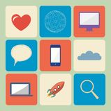 Universal Flat icon set Stock Images