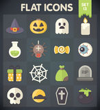 Universal Flat Icons for Halloween. Halloween: Universal Flat Icons for Web and Mobile Applications Set 13 Stock Photo