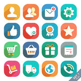 Universal Flat icons. Icon set for Web and Mobile App. Profile, Favorites, Shopping, Service Royalty Free Stock Photo