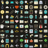 Universal 100 flat icons set Royalty Free Stock Photos