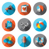 Universal Flat Icons for Web. Flat Icons with long shadow. For web and mobile applications and financial service, business Royalty Free Stock Image