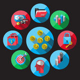 Universal Flat Icons for Web. Flat Icons with long shadow. For web and mobile applications and financial service, business Royalty Free Stock Photography