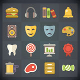 Universal Flat Icons for Web and Mobile Set 10. Vector Universal Flat Icons for Web and Mobile Applications Set 10 Stock Photos