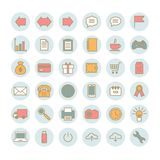 Collection of 36 universal vector linear icons. Universal flat icons for web, print, mobile apps design Stock Images