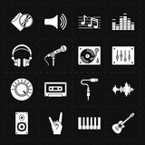 16 universal flat music icons. This is a vector illustration of 16 universal flat music icons Stock Photo