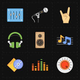 9 universal flat music icons Stock Images