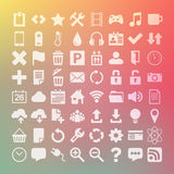 64 Universal Flat Vector Icon Set for web desighers, ui, sites, Royalty Free Stock Photography