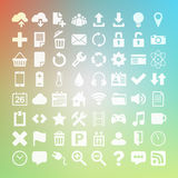 64 Universal Flat Vector Icon Set for web Stock Photos