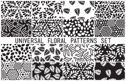 Universal floral seamless patterns set Stock Images