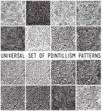 Universal geometric striped dotted seamless pattern set Stock Images