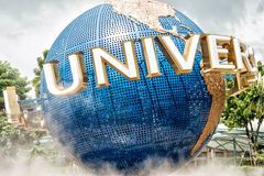 Universal Globe in Universal Singapore. Universal Globe at the entrance to Universal Studios Park in Singapore Royalty Free Stock Photos