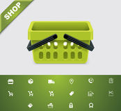 Universal glyphs 20. Shopping. Set of simple shopping related pictograms Royalty Free Stock Images