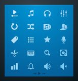 Universal glyphs 4. Audio and music set Stock Photos