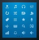 Universal glyphs 4. Audio and music set Stock Photos
