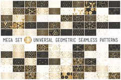100 Universal gradient golden geometric vector seamless patterns. 100 Universal gradient golden geometric seamless patterns. Endless vector texture for wrapping royalty free illustration