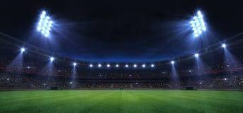 Free Universal Grass Field Stadium Illuminated By Spotlights And Empty Green Grass Playground Stock Photos - 139568753