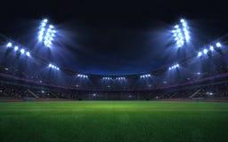Free Universal Grass Stadium Illuminated By Spotlights And Empty Green Grass Playground Royalty Free Stock Image - 139174546