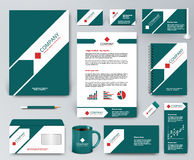Universal green branding design kit with arrow and red elements. Professional universal branding design kit. White tape on green, ribbon with green arrow Royalty Free Stock Photos