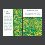Universal Green Summer Card Templates. Set of two universal spring or summer card template designs, perfect for brochure covers, leaflets, flyers, cards and royalty free illustration