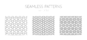 Vector seamless geometric patterns collection with editable stro Stock Image