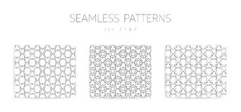Vector seamless geometric patterns collection with editable stro Royalty Free Stock Photography