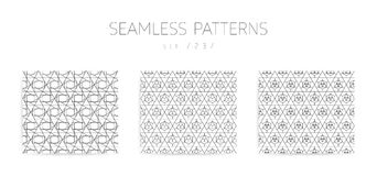 Vector seamless geometric patterns collection with editable stro Stock Photo