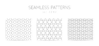 Vector seamless geometric patterns collection with editable stro Royalty Free Stock Image