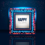 Universal holiday frame made of lights. Stock Image