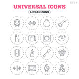 Universal icon. Fitness dumbbell, key and candle. Stock Photo
