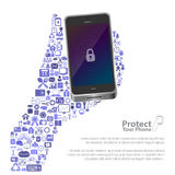 Universal icon protect phone concept. Illustration of universal icon protect phone concept Royalty Free Illustration