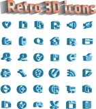 Universal icon set - retro 3d icons Stock Images