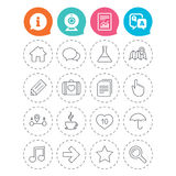 Universal icon. Speech bubble and first aid box. Universal icons. House building, speech bubbles and first aid box. Copy documents, like counter and hot coffee Royalty Free Stock Photography