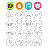 Universal icon. Speech bubble and first aid box. Report, information and award signs. Universal icons. House building, speech bubbles and first aid box. Copy Stock Images