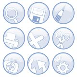 Universal Icons. Nine basic round icons for universal usage, in light blue and white royalty free illustration