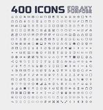 400 Universal Icons for Any Purpose Royalty Free Stock Photography