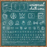 200 Universal Icons in chalk doodle style Set 2 Stock Photos