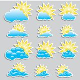 Universal icons clouds - Set  (Weather) Royalty Free Stock Photo
