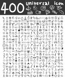 400  Universal icons hand drawn line art cute art illustration.  Stock Photos