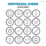 Universal icons. Quotes, ribbon heart and cake. Clover, mushroom and ice cream. Smoking, knife and fork. Circle flat buttons with linear icons. Vector Royalty Free Stock Image