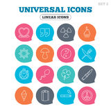 Universal icons. Quotes, ribbon heart and cake. Clover, mushroom and ice cream. Smoking, knife and fork. Flat speech bubbles with linear icons. Vector Royalty Free Stock Photography
